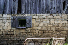 Old Abandoned Building Wooden and Stone Brick Exterior Royalty Free Stock Photo