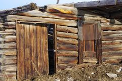 Old abandoned cabin. Old abandoned mining or hunting cabin in western USA Stock Photos