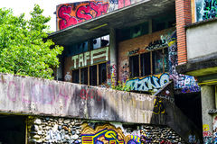 Old abandoned campus restaurant. The street art and drug deal paradise Royalty Free Stock Images