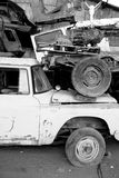 Old abandoned car. A view of an old abandoned and junked car. 1970's international scout jeep Royalty Free Stock Photo