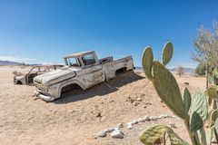Old and abandoned car in the desert of Namibia, spot known as solitaire. Africa stock photography