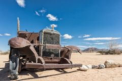 Old and abandoned car in the desert of Namibia, spot known as solitaire. Africa stock photo