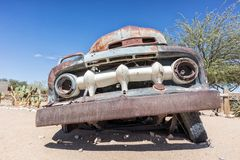 Old and abandoned car in the desert of Namibia, spot known as solitaire. Africa royalty free stock photo