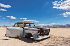 Old and abandoned car in the desert of Namibia, spot known as solitaire. Africa royalty free stock photography