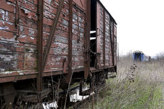 Old and abandoned cargo train Stock Photos