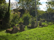 Old abandoned cemetery in ruins of jesuit missions in argentina Stock Photo