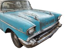 Old, abandoned Chevrolet rusts on the street Royalty Free Stock Images