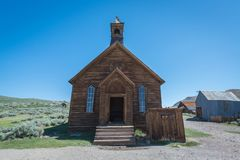 Old abandoned church from Bodie Ghost Town royalty free stock photo