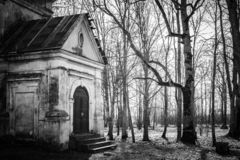 Old abandoned church in the forest Duboe, Belarus. Monotone image. royalty free stock images