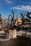 Old abandoned cistern in Epecuen. Desolate urban landscape. Ghost city stock photography