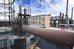 old abandoned closed steel steelworks of  pipelines Royalty Free Stock Photography