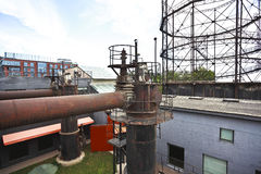 old abandoned closed steel steelworks of pipelines Royalty Free Stock Image