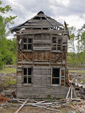 Old Abandoned Collapsing House Cloudy Day Stock Images