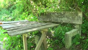 Old and abandoned concrete bench with table. This is a footage of Old and abandoned concrete bench with table stock footage