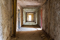 Old and abandoned corridor of  building Stock Photography