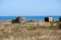 Old abandoned corroded fuel tanks royalty free stock image