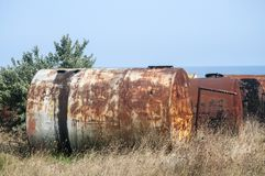 Old abandoned corroded fuel tanks stock photos