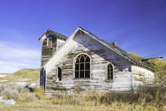 An old abandoned country church in Dorothy, Alberta, Canada. Royalty Free Stock Photos