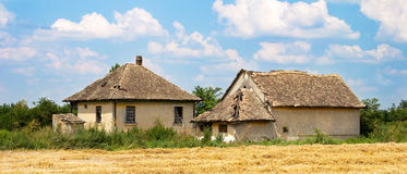 Old abandoned country house. Old abandoned country/farm house, panoramic high-resolution shot stock photo