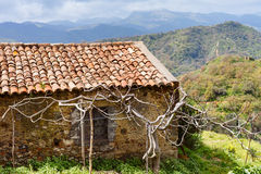 Old abandoned country house in Sicilian mountains Royalty Free Stock Photo