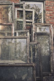 Old abandoned cracked wooden window frames Stock Photos