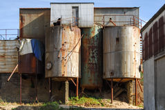 Old abandoned defaulted industrial building Stock Image