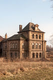 Old abandoned and destroyed house stock photo