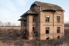 Old abandoned and destroyed house stock image