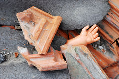 Old abandoned doll hand Stock Photos