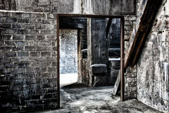 Old abandoned factory. Built of bricks and structural steel work Royalty Free Stock Photo