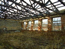 Old abandoned factory from communist times stock photo