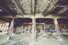 Old abandoned factory hall Royalty Free Stock Photo