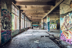 Old abandoned factory hall Royalty Free Stock Image