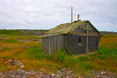 Old abandoned fishermans cabin at White Sea coast, northern Russ Royalty Free Stock Photos