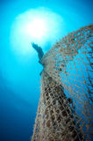Old abandoned fishing net. With squid eggs Royalty Free Stock Photos