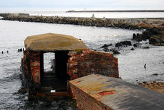 Old abandoned fort on the Baltic spit Stock Photo
