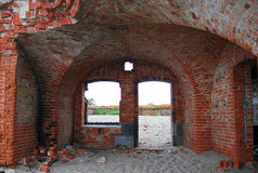 Old abandoned fort on the Baltic spit Stock Photography