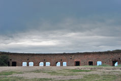Old abandoned fort on the Baltic spit Stock Photos