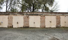 Old abandoned garages. Old building royalty free stock images