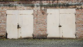 Old abandoned garages. Old building stock photography
