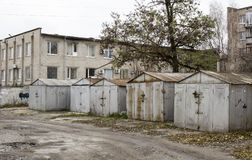Old abandoned garages. Metal structure royalty free stock image