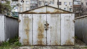 Old abandoned garages. Metal structure stock images