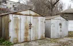 Old abandoned garages. Metal structure royalty free stock photography