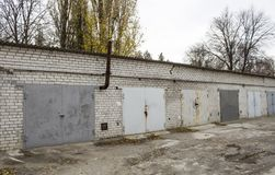 Old abandoned garages. Old building royalty free stock photos