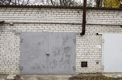 Old abandoned garages. Old building stock photo