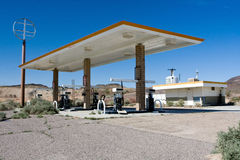 Old abandoned gas station in desert Royalty Free Stock Photo
