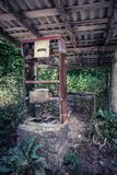 Old abandoned gas station overgrown with weeds in wood Royalty Free Stock Images