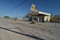 Old Abandoned Gas Station On Route 66. Old Abandoned Gas Station On Route 66 Nice Legacy to Discover This Historic Route. . June 21, 2017.  California, USA Stock Photo