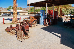Old and abandoned gas stations in Shoshone village Stock Photos
