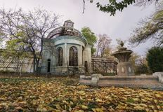 Old abandoned haunted house. Fallen foliage royalty free stock photography